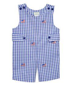 Loving this Blue Seersucker Americana Embroidery Shortalls - Infant & Toddler on #zulily! #zulilyfinds