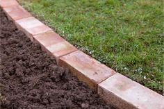garden edging Edging a lawn - soil around the bricks