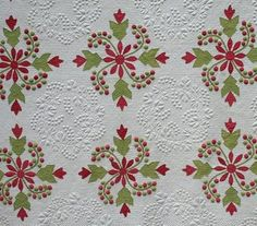 red and green coxcomb and currants variation! Julie Silber has some of the best antique quilts!!!