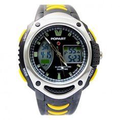 AW370E Black Watchcase Chronograph Date Alarm BackLight Men Analog Digital Watch