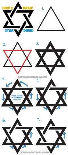 How to Draw the Star of David (The Jewish Star) with Fancy Interlocking Triangles
