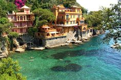 Ocean Front Homes,Portofino, Italy photo by tearsandrain. I could live here Places Around The World, Oh The Places You'll Go, Places To Travel, Places To Visit, Around The Worlds, Travel Stuff, Vacation Destinations, Dream Vacations, Vacation Spots