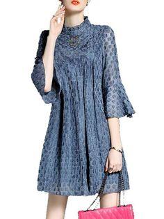 優雅スタンドネックラッパスリーブミニワンピース - レディースファッション激安通販|20代·30代·40代ファッション