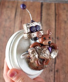 Rustic silver teddy bear loves his teddy! I created especially for PiQ Products…