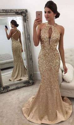Gorgeous Backless Formal Dress Mermaid Halter Sleeveless Crystals Prom Dress