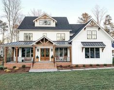 Farmhouse Charm on How gorgeous is this modern white farmhouse We are in LOVE with this exterior with that black trim! TAG a friend who wants a house Modern Farmhouse Exterior, Farmhouse Design, Farmhouse Style, Farmhouse Decor, American Farmhouse, Farmhouse Kitchens, Farmhouse Interior, Farmhouse Plans, Interior Modern