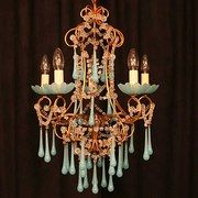 Italian Gilded 5 Light Turquoise Chandelier
