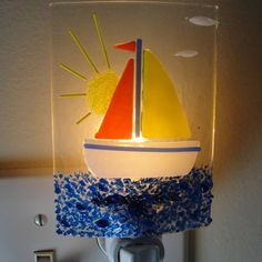 Fused Glass Night Light Home Decor Lighting Fixture by sljglass, $32.00