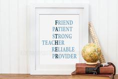 Fathers Day Gift, Good Father Qualities, Homeschool Father Printable Wall Art, Christian Art Print, Scripture Wall Art, Christian Gift - pinned by pin4etsy.com