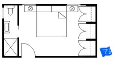Here's a master bedroom floor plan with side bathroom and a wall of wardrobes opposite.  This layout could me made more compact if the wardrobes have sliding doors. Click through to the site to read more on master bedroom floor plan design.