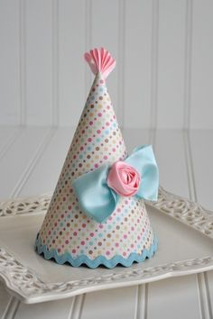 Girly Bow Birthday Party Hat by propshopboutique on Etsy, $26.00