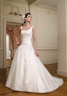 Elegant zipper back organza square neck chapel train wedding dress - Gopromdress.co.uk