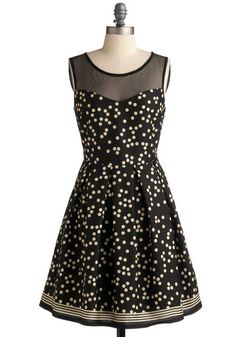 "Loving the polka dots today. Black sleeveless dress with mesh ""shoulders"" and ivory polka dots."