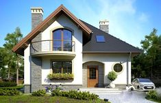 O casă de vis cu mansardă ideală unei familii cu 4 membri, cu o suprafată de 132 m² Duplex House Plans, Modern House Plans, Dream Home Design, Home Design Plans, Casas Country, House Outside Design, House Construction Plan, Modern Bungalow House, Plans Architecture