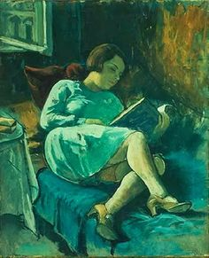 Reclining woman with book by Imre Goth born 1893 in Szeged, Hungary died 1982 in California, USA