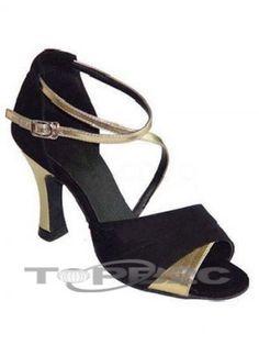Peau de vache noire Suede bas 2 3/4'' haut talon Womens latine Shoes      Groupe: Femme     Hauteur de Talon: 9.5cm     Type de Talon: Bobine     Bout de Chaussures: Ouvert     Couleur affichée: Noir     Poids: 1kg