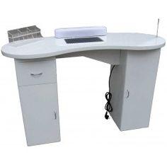 Table manucure avec aspiration chambre de filtre BLANC