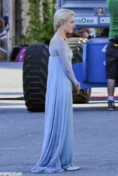 If you were excited about Frozen coming to Once Upon a Time before, get ready to freak out. Georgina Haig was seen in costume as Frozen's Elsa in season four while filming scenes for the show on the Vancouver set on Wednesday. While she wasn't throwing ice or snow around, she definitely looked the part.