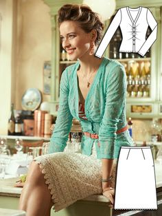 Blooming Dreams: 11 New Sewing Patterns – lace cardigan and lace skirt with lace as hem edge