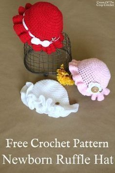 The Newborn Ruffle Hat is great for fun in the sun for your new baby or grand baby. Crochet Baby Hat Patterns, Baby Girl Crochet, Crochet Baby Clothes, Crochet Baby Hats, Crochet Beanie, Crochet For Kids, Baby Knitting, Booties Crochet, Bag Crochet