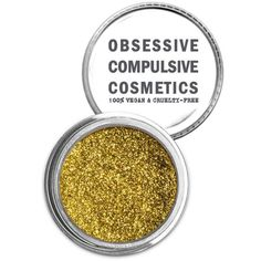 Obsessive Compulsive Cosmetics Gold Cosmetic Glitter Powder ($15) ❤ liked on Polyvore featuring beauty products, makeup, face makeup, face powder and gold
