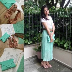 Midi skirt, mint, t-shirt and nude sandals. Saia midi menta, camiseta e sandália nude. Link: http://www.elropero.com/2014/02/fashion-set-saia-midi-menta.html