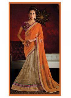 Appealing Georgette Zari Work Lehenga Saree - shopneez.com
