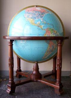 "Replogle 32 inch Library Globe (also called ""The Diplomat Globe""), The ""Diplomat"" Globe: Late Cold War W/ Touch-Light, Globe Maker: Replogle Globes, Inc. (Published: Replogle Globes, Inc. 1981 ca. Chicago, Illinois)"