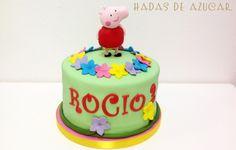 TARTA PEPPA PIG FLORES HADAS DE AZUCAR GUADALAJARA / PEPPA PIG AND FLOWERS FONDANT CAKE