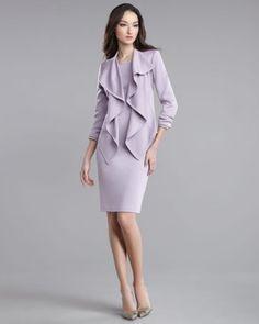 St. John - Shop Online - Sale - Cascade-Front Milano Knit Jacket & Milano Knit Sleeveless Dress $597 + $747
