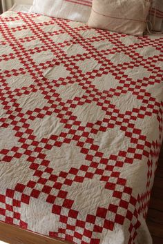Lovely Vintage Antique Handmade Patchwork Quilt red White American | eBay seller vidyaerica; old, thin patchwork, in family for generations, may have been made about 1910; shown on queen sized bed
