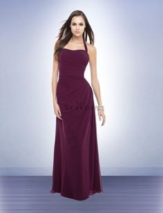 a31f570a268a Bill Levkoff Bridesmaid Style 160 is a Chiffon gown with self halter straps  tying at the neck forming tails. The gown is adorned with asymmetrical  gathers.