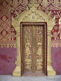 Beautiful Doors at Wat in Luang Prabang -