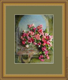 Картина лентами - комбинированный, картина в подарок, картина, картина для интерьера, картина с цветами