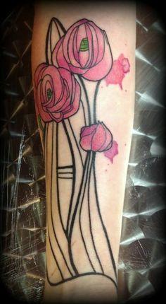 Art nouveau tattoo... I particularly like how it looks like the artist was