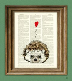 I Love You Valentine Hedgehog Dictionary Page Art Print on the redditgifts Marketplace