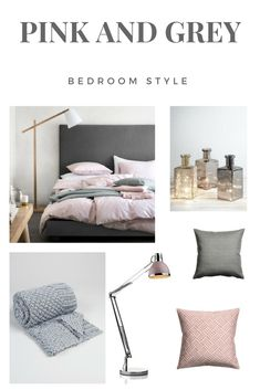 Dusty Pink and Grey Bedroom Style ideas and inspiration. With links to products. Cool and calm bedroom decoration ideas.