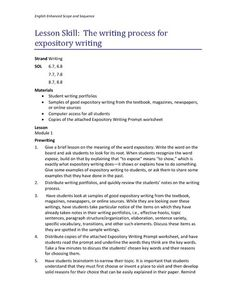 The Writing Process for Expository Writing Lesson Plan | Lesson Planet