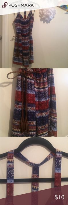 "F21 navy & burgundy-patterned sundress Size L. Navy & burgundy-patterned sundress. Condition: new/never worn. Slight fraying. ""T""-back detail. Cinched waist with string loops and brown braided belt. Please let me know if you have any questions. Thank you! Forever 21 Dresses Mini"