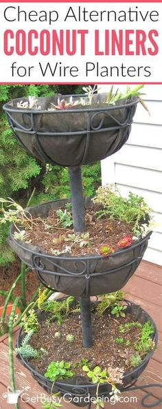 Looking For A Cheap Coco Liner Alternative For Your Wire Basket Planters? Heres How To Make Easy Diy Replacement Coconut Liners For Hanging Baskets And Planters. Garden Basket, Plant Basket, Basket Planters, Diy Planters, Flower Planters, Garden Pots, Hanging Wire Basket, Hanging Flower Baskets, Diy Hanging