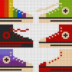 zapatilla con hama beads, hama mini, perler, etc - Pearler Bead Patterns, Perler Patterns, Loom Patterns, Beading Patterns, Hama Mini, Beaded Cross Stitch, Cross Stitch Embroidery, Cross Stitch Patterns, Perler Bead Art