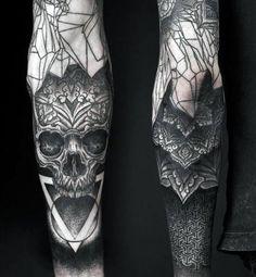 Skull Triangle Blackwork Mens Half Sleeve Tattoos