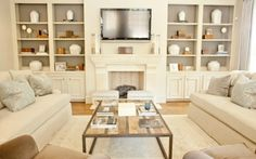 Tv over fireplace, fireplace built ins, living room layout with fireplace a Tv Over Fireplace, Fireplace Built Ins, Fireplace Wall, Limestone Fireplace, Fireplace Bookcase, Fireplace Design, Basement Fireplace, Simple Fireplace, Basement Ceilings