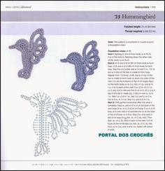 Crochet applique hummingbird, free diagram
