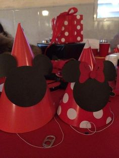Hats at a Mickey and Minnie Mouse Party #mickeymouse #minniemouse #partyhats