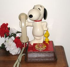 1966 Snoopy and Woodstock Rotary Dial Telephone by CookieGrandma60, $65.95