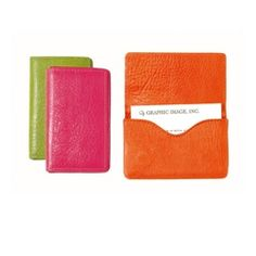 Hard Business Card Case, Brights Leather Graphic image -- if purchased at bergdorf's, it can be monogrammed.
