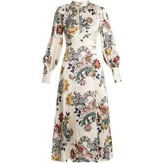 Erdem Orlena high-neck floral-print silk dress (24.301.795 IDR) ❤ liked on Polyvore featuring dresses, white print, long dresses, white high neck dress, floral-print dresses, lace up dress and floral dresses