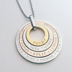 Handstamped necklace - quad stack in silver, rose and yellow gold finish (stainless steel)