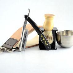 Gold Dollar 66 Straight Razor + Brush + Brush Stand + Bowl + Leather Strop Strap